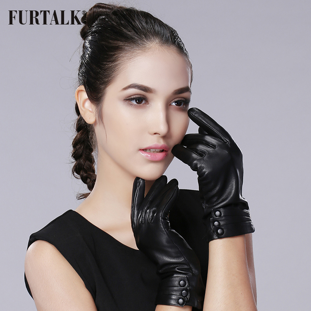FURTALK Women's Cashmere Lining Genuine Nappa Leather Winter Warm Simple Plain Style Gloves