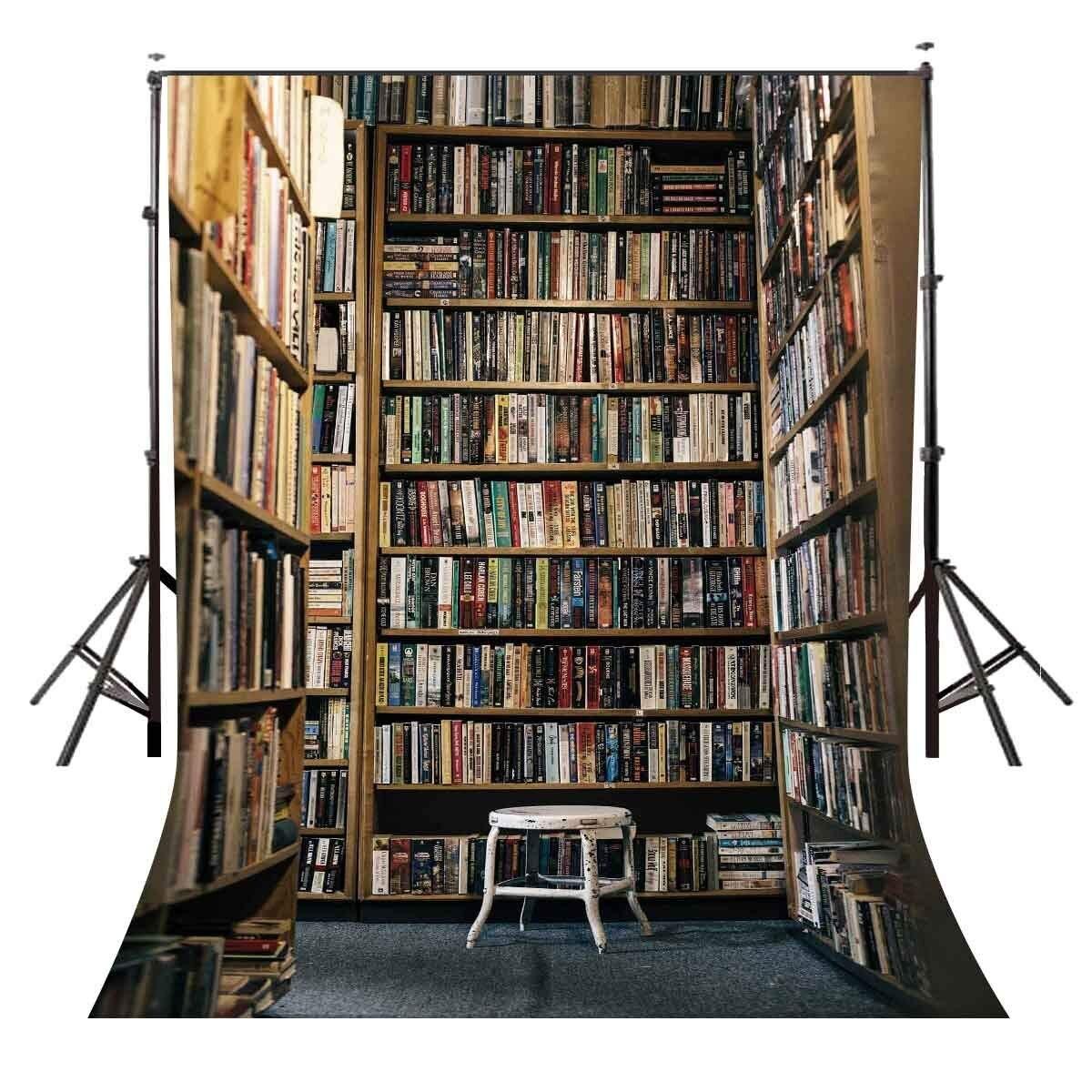 5x7ft Photography Backdrop Bookshelf Full of Books Backdrop Studio Props