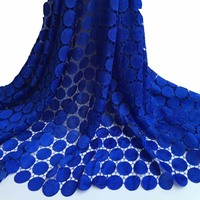 Hot Sale High Quality Nigerian Lace Fabrics 2016 African Guipure Lace Fabric In Royalbule For Clothes