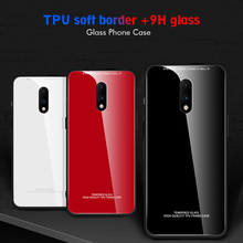 Solid Color Glass Case For Oneplus 7 Pro Silicone Frame Hard Glass Back Phone Case For One plus 7 1+7 Pro Cover Shell 7Pro Funda
