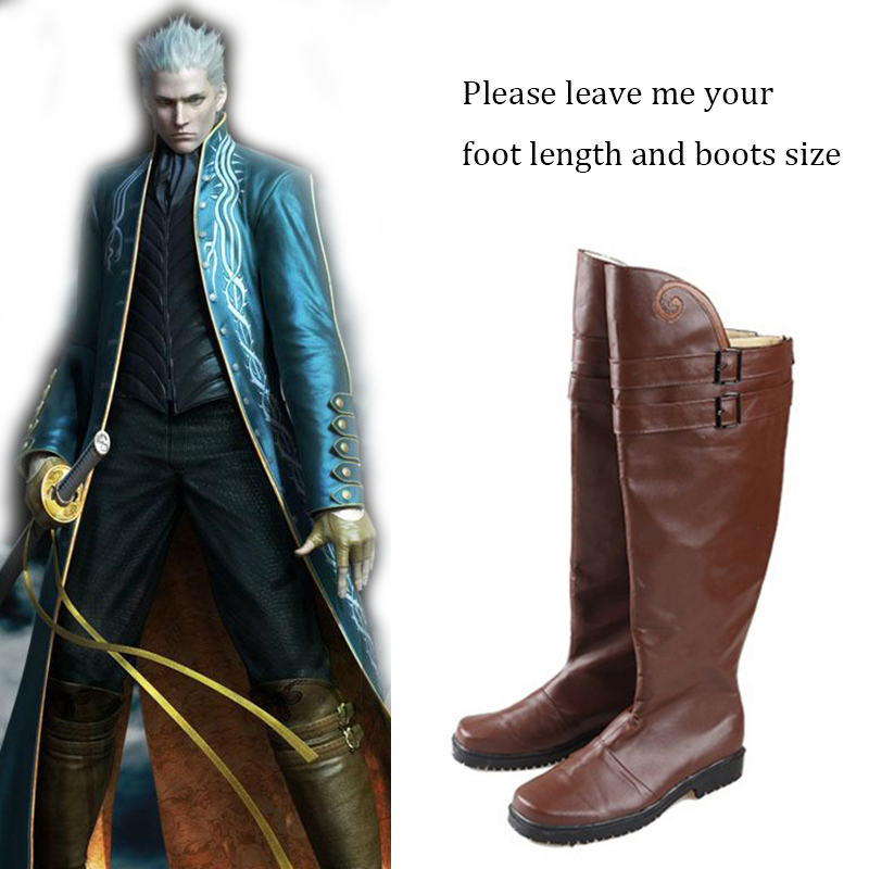 Devil May Cry Costume Cosplay Demon Hunter Vergil Shoes Game Boots Halloween Accessory Carnival Party Adult Custom Made