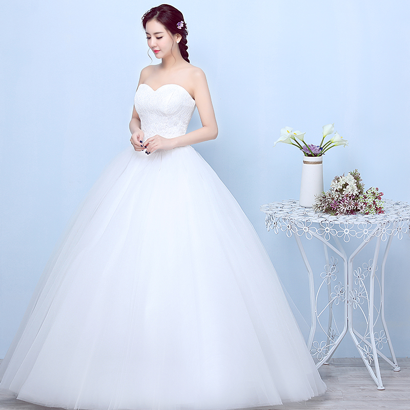 YC X22 Ball Gown White Lace up Strapless Bride s Wedding Dress Backless  Long dress Cheap Wholesale Women Clothing plus size-in Wedding Dresses from  Weddings ... 66b5526a22d7