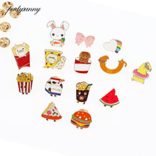 Enamel Metal Button Anime Icons Bowknot Rabbit Rainbow Baby Dog Milk Pizza Badges for Clothes Icon on the Backpack for Children(China)