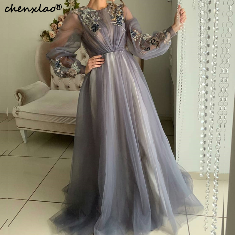 Muslim Evening Dresses Sheer A-Line Jewel Neck Full Sleeves Lace Appliques Pleat Floor Length Evening Party Dress Vestidos