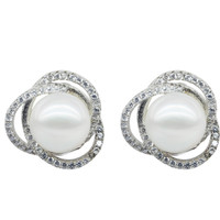 SNH 11 12mm AAA button white freshwater pearl earring real 925 sterling silver earring genuine cultured pearl earring for woman