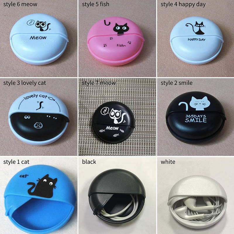 Data Line Cables Storage Cases Cute Cartoon Earphone Wire Box Round Rotating Cover Plastic Portable Headphone Coin Container 1PC