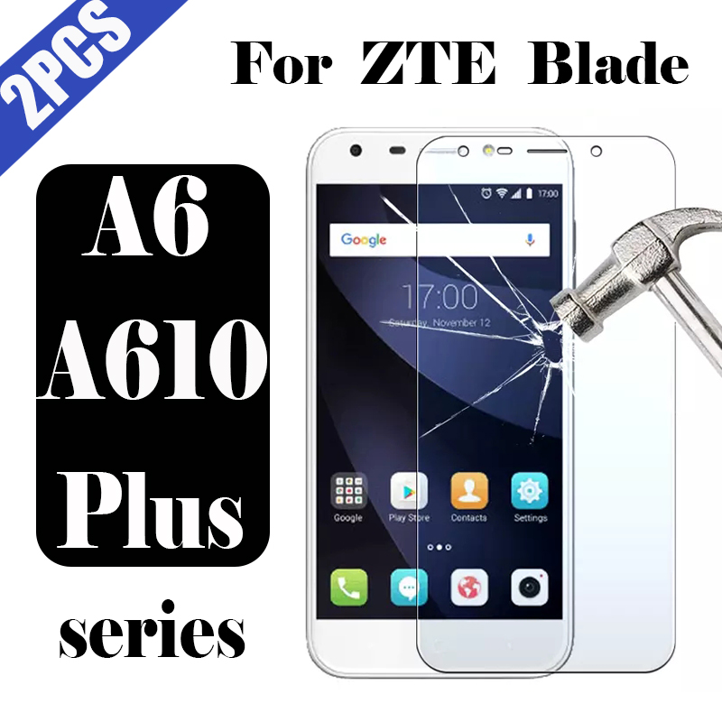 Protective glass on for <font><b>ZTE</b></font> <font><b>Blade</b></font> a6 a610 plus tempered glas film <font><b>a610plus</b></font> a 610plus tremp 6a screen protector protection 2pcs image