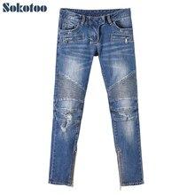 Sokotoo женская мода тонкий тощий байкер джинсы Повседневная молнии нижнее отверстие разорвал брюки карандаш Длинные брюки