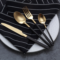 4PCS LOT Top Quality Black Cutlery Set 18 10 Stainless Steel Knives Forks Tablespoons Metal Dinnerware