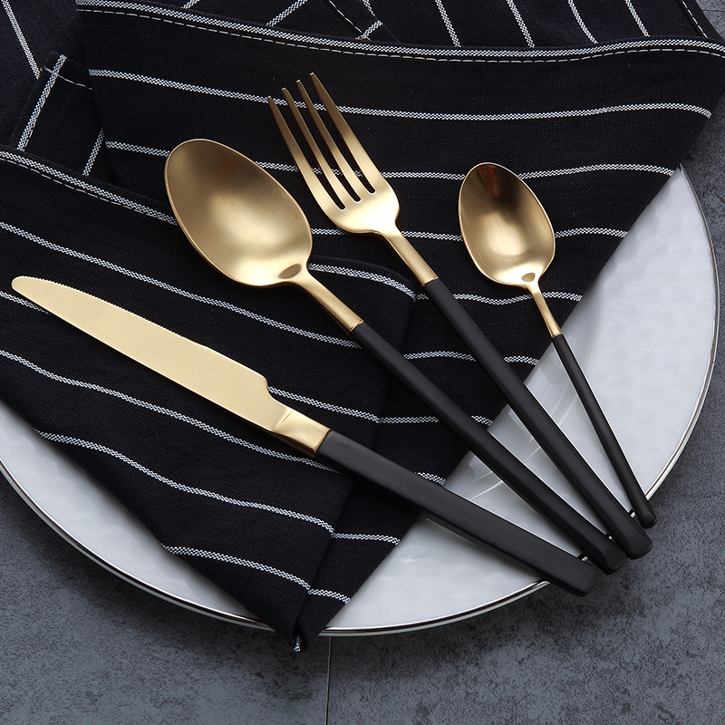 4PCS/LOT Top Quality Black Cutlery Set 18/10 Stainless Steel Knives Forks Tablespoons Metal Dinnerware Set Western Tableware & ?4PCS/LOT Top Quality Black Cutlery Set 18/10 Stainless Steel ...