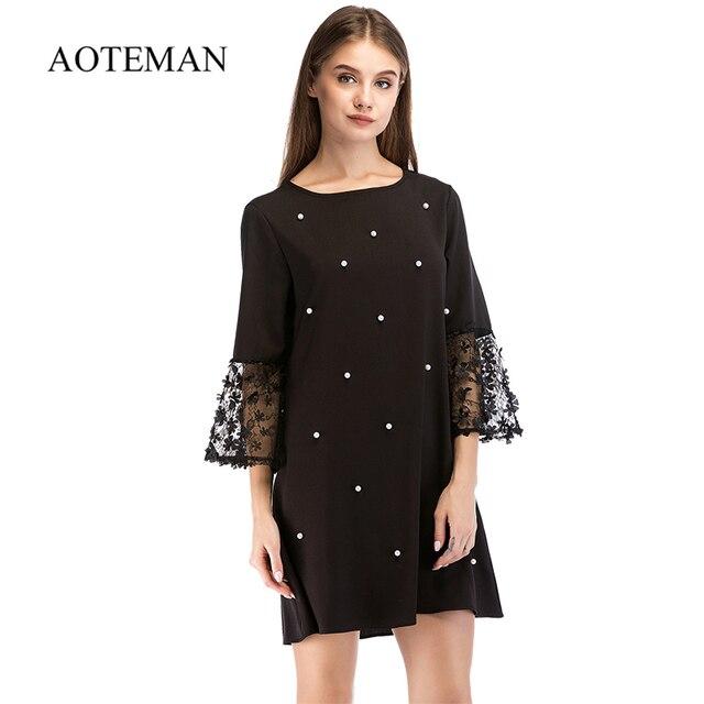 AOTEMAN Elegant Summer Autumn Women Dress New Fashion Vintage Half Sleeve Sexy Loose Pearl Dresses Lace Beach Party Black Dress