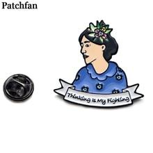 Virginia Woolf Zinc Cartoon Pins men women para Shirt Charm Coat insignia Clothes backpack Accessory medal Badges Brooches A2069