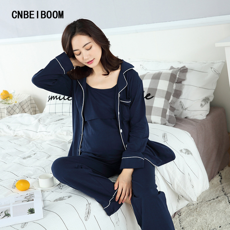 Zwangerschapskleding Pyjama.3 Stks Jas Broek T Shirt Vrouwen Moederschap Pyjama Kleding Set