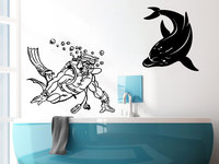Scuba Diver Diving Met Dolphin Wall Decals Funny Animals Nautical Series Vinyl Wall Sticker Home Bathroom