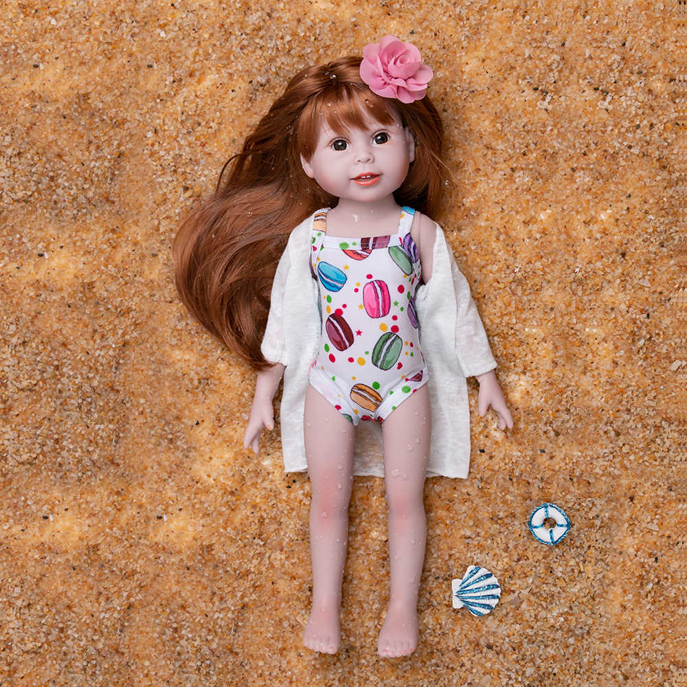 בגד ים 18 סנטימטרים רחצה בובת ילדה קיץ רחיץ בובות חוף בנות שינה צעצוע ארוך שיער לילדים Macaron דפוס