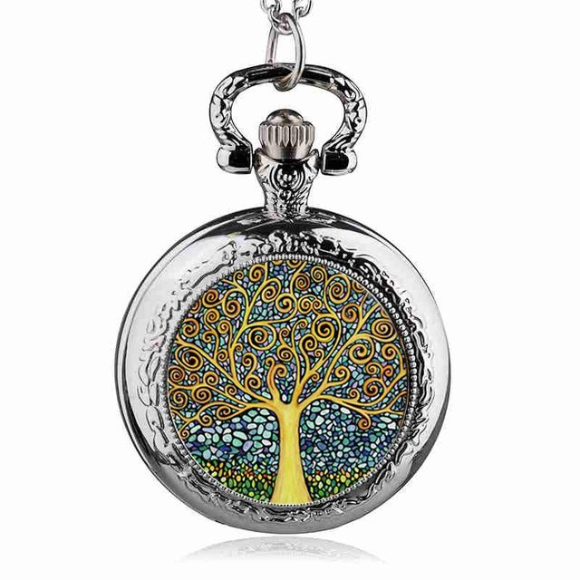 Fashion Silver Stainless Steel Tree Of Life Chain Luminous Pocket Watch Necklace