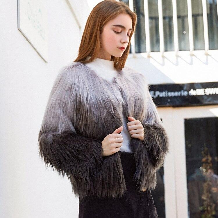 De Moutons Hiver Gris Gris Fourrure noir Nouveau Vêtements Et Mongolie Gradient Femmes Manteau Manteaux Faux 2018 Imitation Femelle Automne UAnxIqa1
