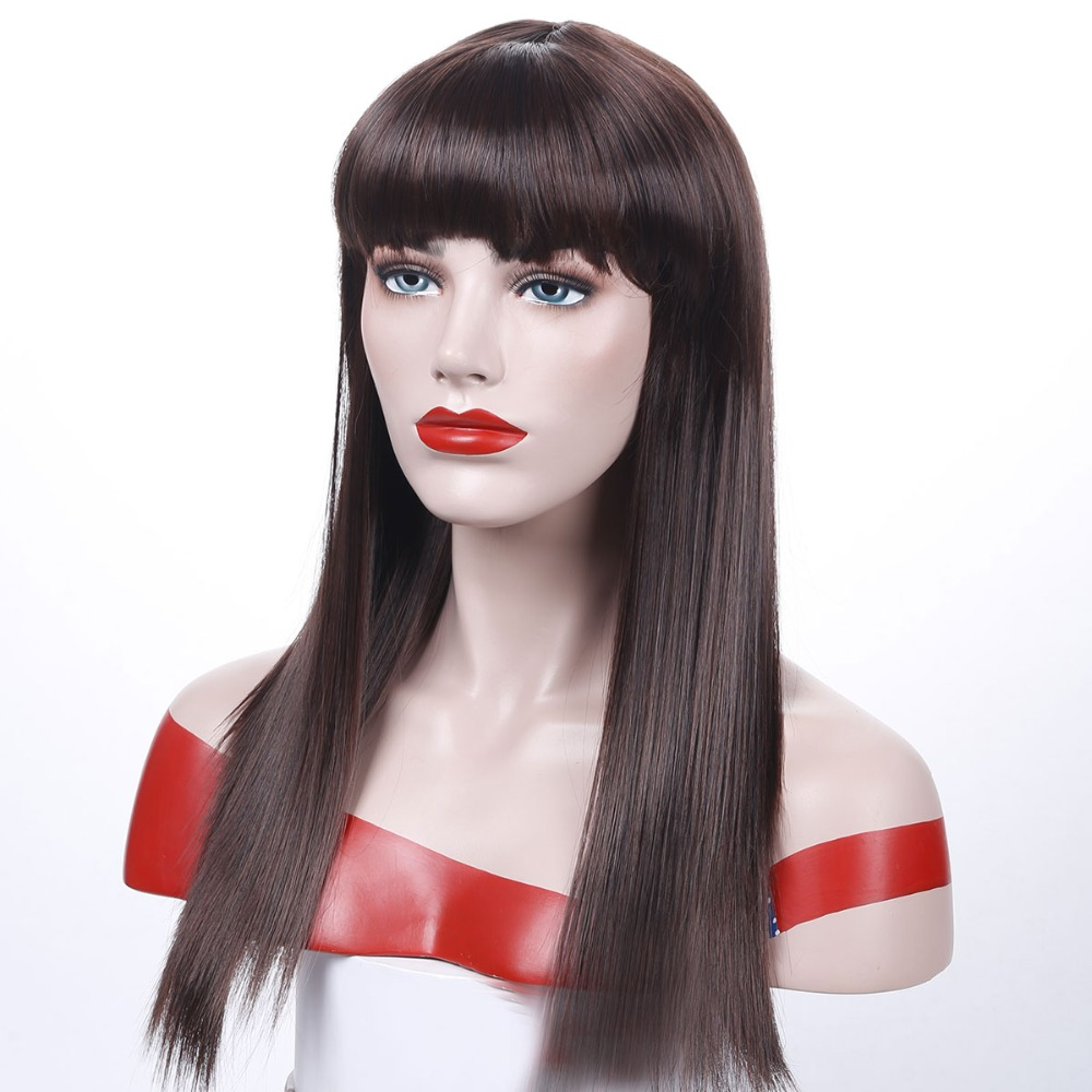 jiNKAILI 22inches Long Straight 100% Real Natural Wig Synthetic Brown Blonde Red Black Heat Resistant Hair Wigs for Women
