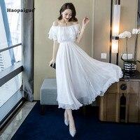 Plus Size A line Dress 2019 Summer Women White Short Sleeve Ruffles Slash Neck Beach Boho Long Dress Elegant Maxi Dress Ladies