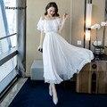 Vestido de talla grande línea a 2019 de verano para mujer vestido largo blanco de manga corta con volantes y cuello oblicuo para la playa bohemio para mujer