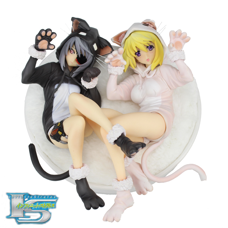 Free Shipping Anime Infinite Stratos Laura & Charlotte Nekomimi Pajamas Boxed 22cm PVC Action Figure Model Doll Toys Gift new hot 23cm infinite stratos laura bodewig maid action figure toys doll collection christmas gift with box