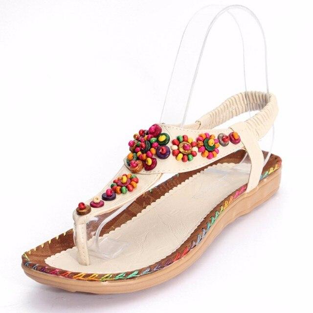 Sandales femmes plat bohèmes perles de pierres précieuses XfAlf