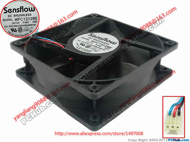 DELTA WFC1212BE R00 DC 12V 0.65A 120x120x38mm Server Square fan delta fan 12cm best ffb1212ehe 120x120x38mm super large volume 3a violence 200cfm 3 lines