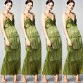 2017 Тенденции Моды Трава Зеленая Мода Ненавижу Кисточкой Вечерние Платья Длинные Женщины Вечерние Платья Аппликации Вечернее Платье Вечернее платье