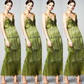 2017 Fashion Trend Grass Green Couture Hate Tassel Evening Dresses Long Women Formal Gowns Appliques Evening Gown formal gown