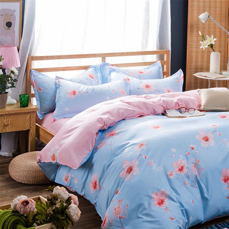 Warm And Comfortable Modern Style Romantic Flower Field Printing Pattern Bedding Queen / King 4pcs Set Quilt Bedding Pillowcase