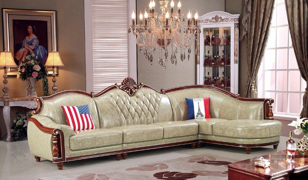 Amerikanischen Ledercouchgarnitur Wohnzimmer Sofa China Holzrahmen L Form EcksofaChina Mainland