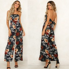 BUYSD Women Off Shoulder Floral Print Sexy Jumpsuits Wide Le