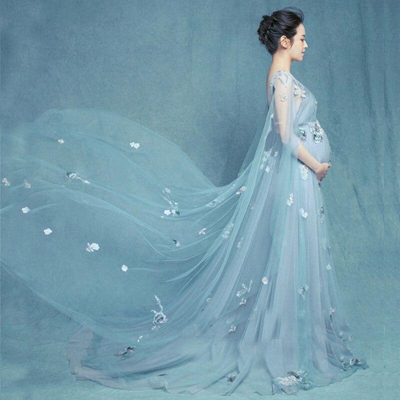 Цветочные Материнские фотографии реквизит макси платья для беременных Платья для беременных для фото одежда с принтом стрельбы для береме