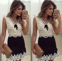 2018 New fashion patchwork women v neck white Bow lace dress ladies sleeveless vintage casual mini summer dresses L83