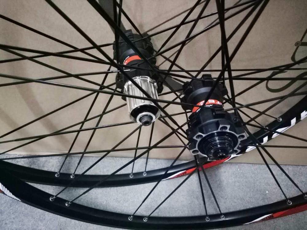 Original Novatec hub  15mm thru front  24 hole flat pull stright spoke 4 bearings 27.5 er mtb bicycle wheelset