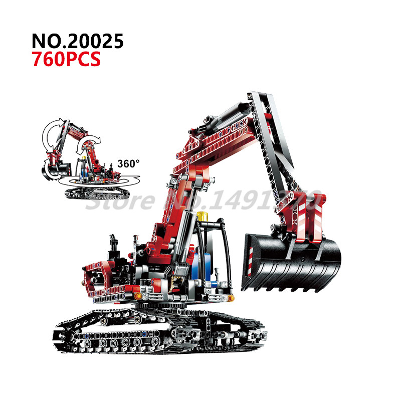 Technic Mechanical Building Blocks The Red Engineering Excavator Educational Bricks 8294 Model Toys For Children Gifts 196pcs building blocks urban engineering team excavator modeling design