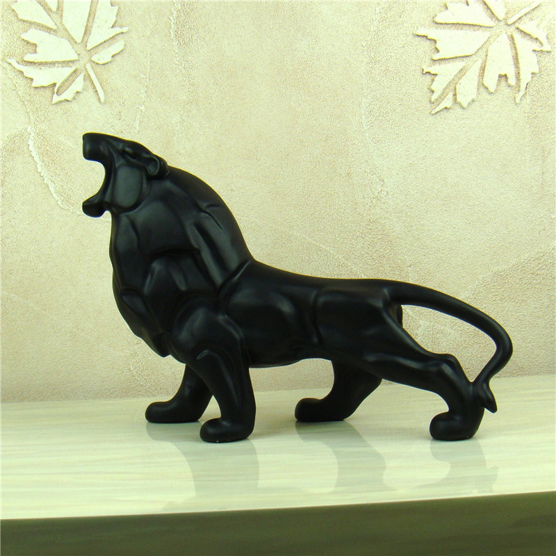 Abstract Lion Sculpture Handmade Resin African Wild Animal