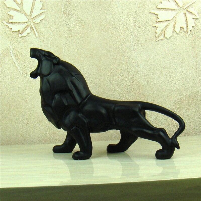 Abstrato leão escultura artesanal resina animal selvagem africano predador estátua leão ornamento artesanato para decoração de casa presente do negócio
