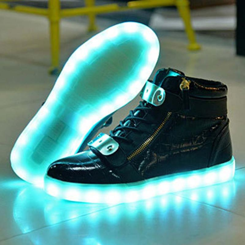 21a3dd55fb820 Men USB Charging High Top Luminous LED Light Shoes 7 Colors Flashing Casual Glowing  Light up Shoes for Adults866-in Men s Casual Shoes from Shoes on ...