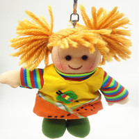 Wholesale small rag doll toy 6 inch 50pcs/pack with keyring cute kids doll with cloth bag pendant birthday doll gift
