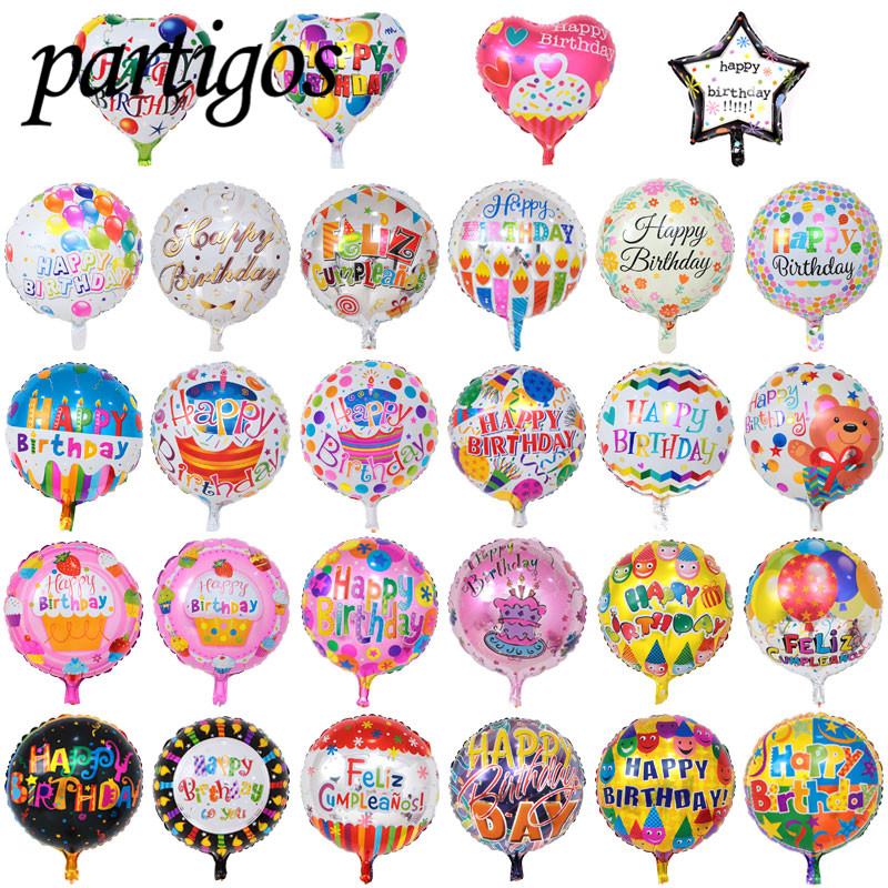 150pcs Lot 4545cm Happy Birthday Balloons Printed Foil Wedding Party Balloon Childs Holiday Gifts Inflatable Balls In Ballons Accessories From