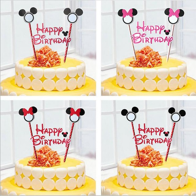 Online Shop 2pcs Mickey Minnie mouse theme happy birthday cupcake ...
