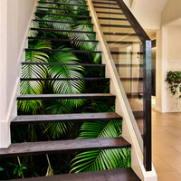 2018 New 3D Tropical Palm Leaves DIY Stair Stickers for Living Room Self Adhesive Mural Decor Art Decal Home Decoration 13Pc/set