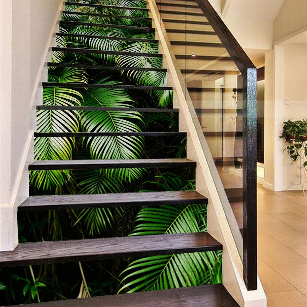 2018 Nouveau 3D Feuilles De Palmier Tropical DIY Escalier Autocollants pour Salon Auto-Adhésif Mural Décor Art Sticker Décoration 13 pc/ensemble