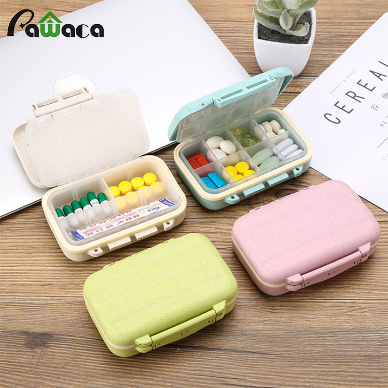 Portable Mini Pill Case 8 Grids Medicine Storage Tablet Pill Box with Lids Empty Containers Jewellery Holder Case Organizer