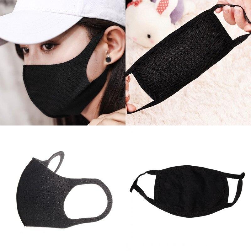 1Pcs Breathable Black Kpop Mouth Mask Unisex Sponge Face Mask Reusable Anti Pollution Face Shield Wind Proof Mouth Cover porta celular para hacer ejercicio