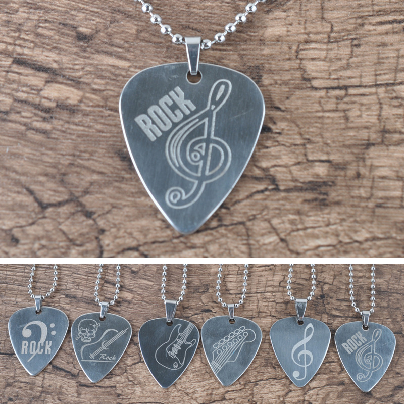 1 Pcs Guitar Pick Stainless Steel Paddle Metal Necklace Style Piacks Guitar Accessories