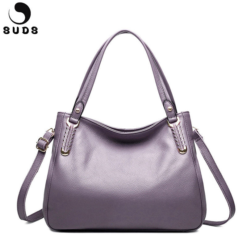 SUDS Brand Genuine Leather Women Leather Bag Shoulder Bags Large Capacity Women Messenger Bag Cow Leather Female Casual Tote Bag 2018 luxury brand trapeze platinum bags designer women cow leather shoulder bag scrub genuine leather messenger bag casual tote