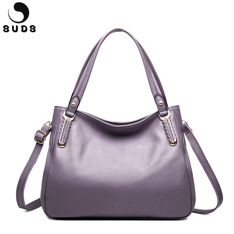 SUDS ยี่ห้อของแท้หนังผู้หญิงกระเป๋าหนังกระเป๋าสะพายกระเป๋าขนาดใหญ่ความจุกระเป๋า Messenger ผู้หญิงหนังวัว Casual Tote กระเป๋า-ใน กระเป๋าสะพายไหล่ จาก สัมภาระและกระเป๋า บน   1