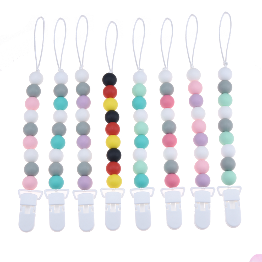 Happyfriends NEW DIY Silicone Baby Pacifier Clip Colorful Pacifier Chain for Baby Teething Soother Chew Toy Pacifier HolderHappyfriends NEW DIY Silicone Baby Pacifier Clip Colorful Pacifier Chain for Baby Teething Soother Chew Toy Pacifier Holder